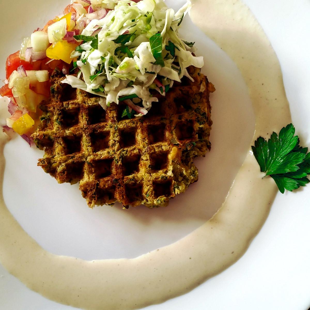 Colorized Falafel Waffle