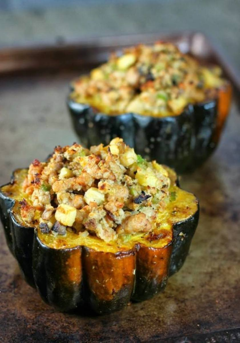 Acorn Squash with Italian Duck Sausage