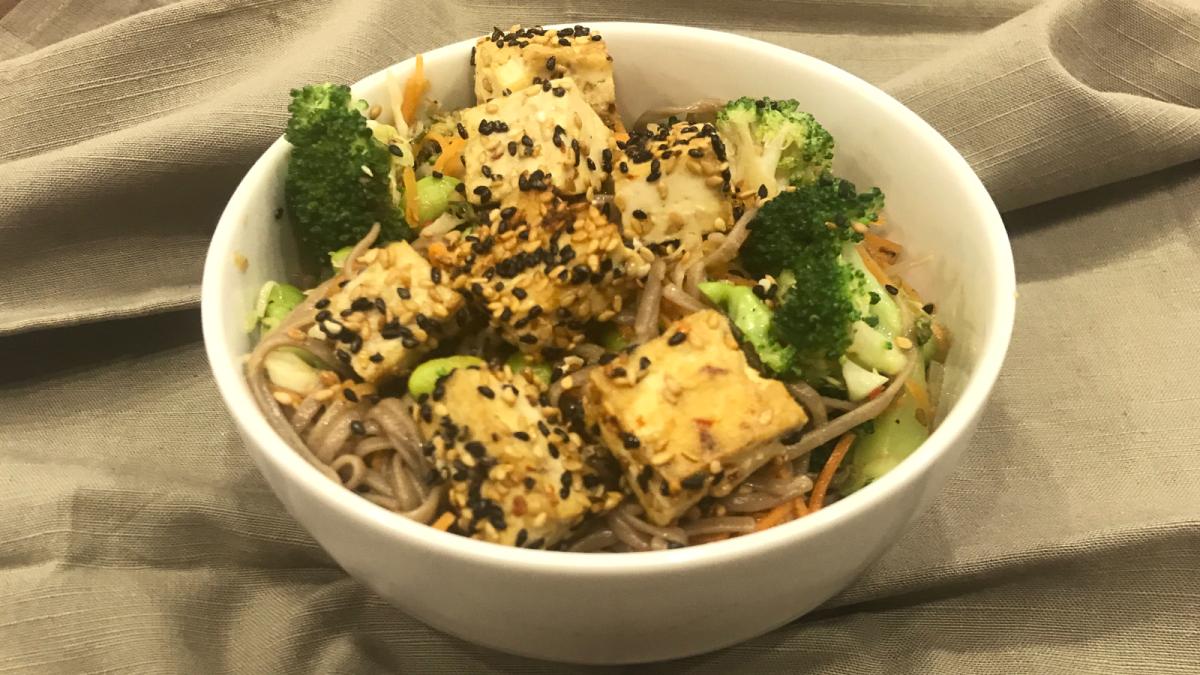 Sesame Crusted Tofu Over Stir Fry Soba Noodles