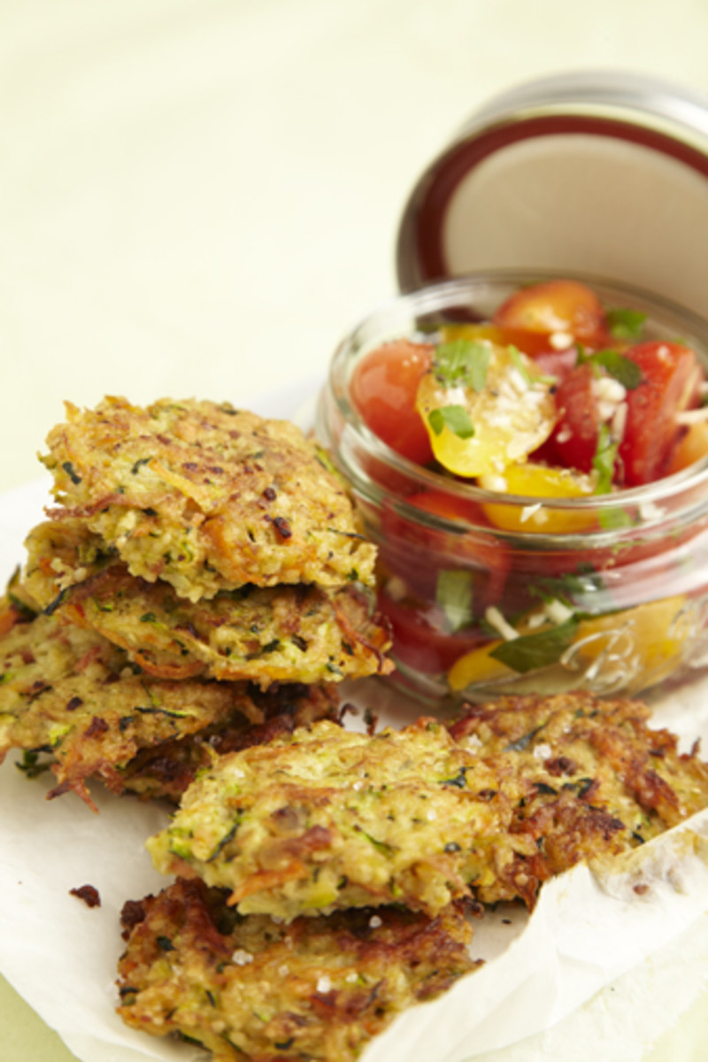 Zucchini Fritters with Tomato Salsa