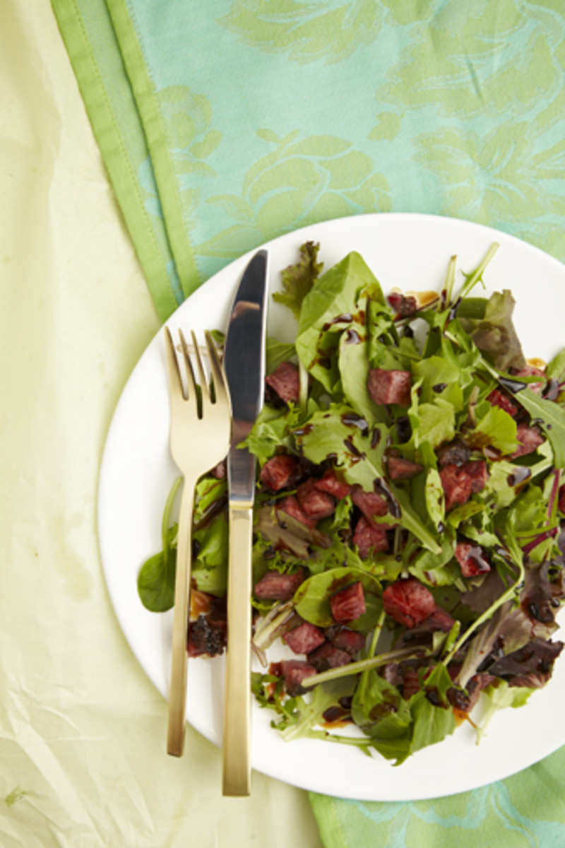 Salad with Pastrami Croutons