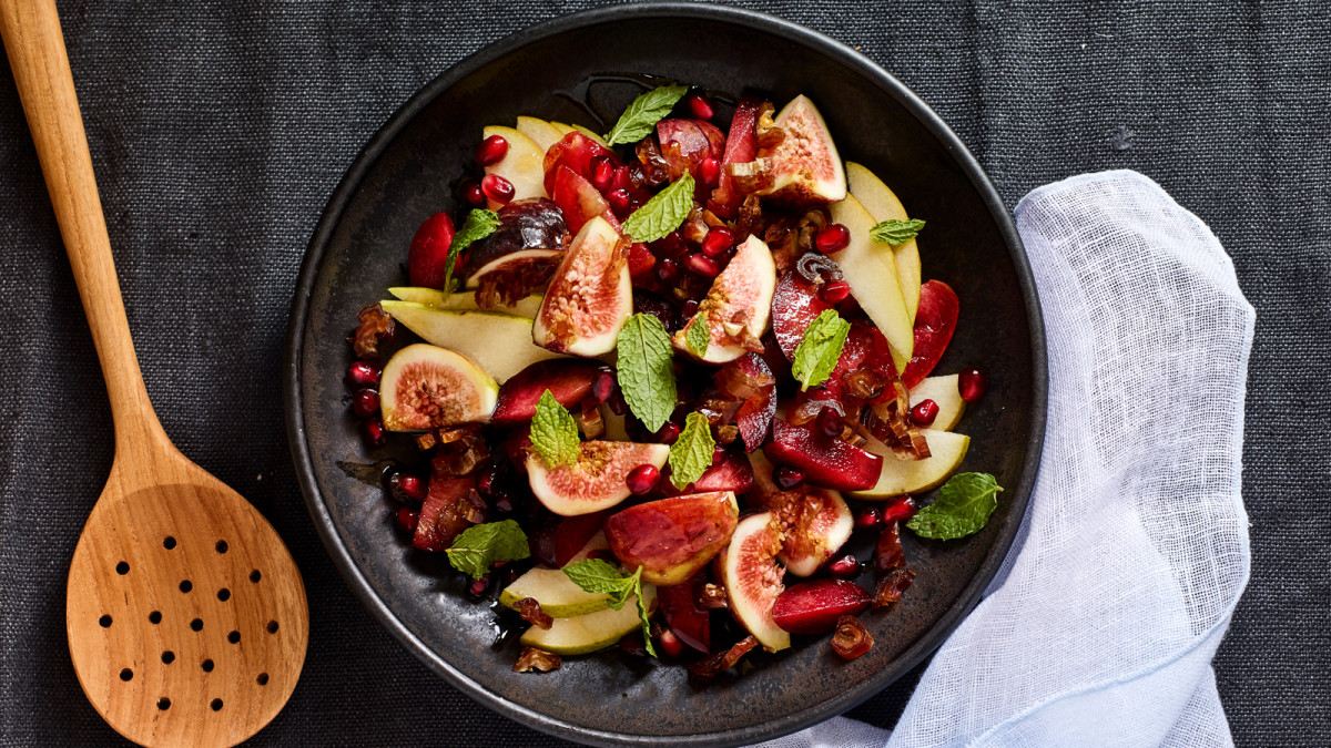 Add crumbled goat cheese or feta to this stunning Israeli Fruit Salad. Fruit salad and soft cheese pairs with   rosé  .