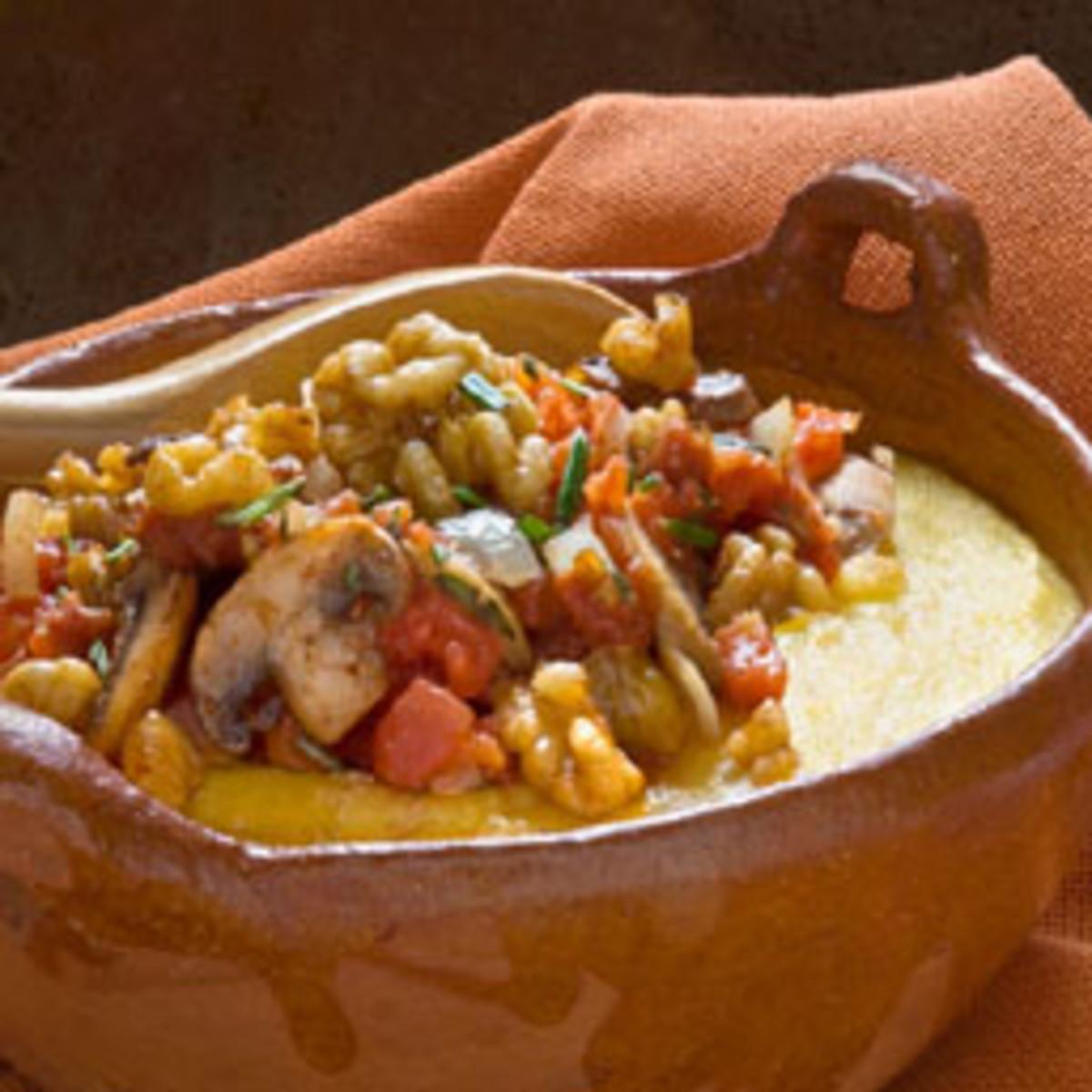 Walnut Rosemary Polenta with Tomato Mushroom Saute