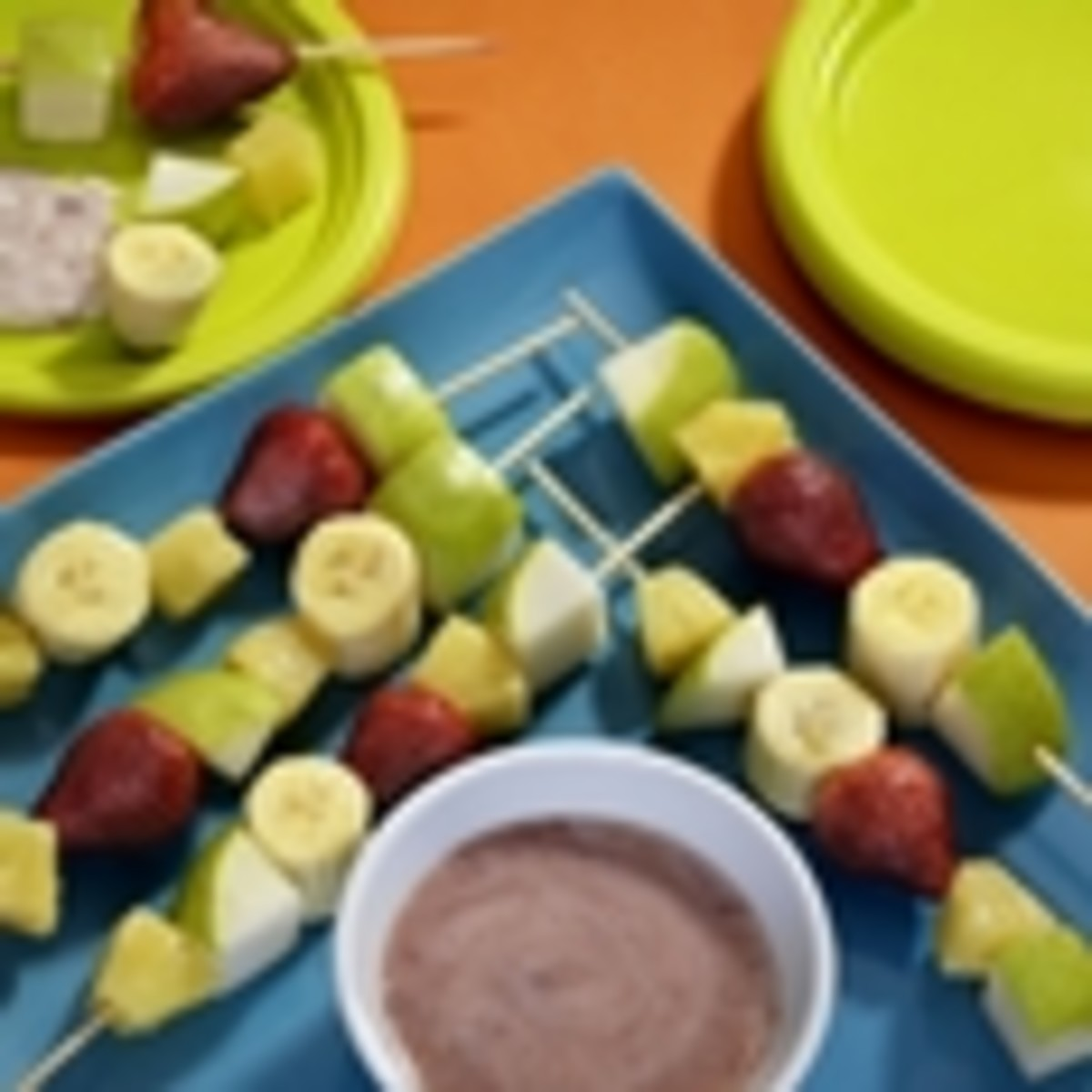 Pear Ka-bobs with Strawberry Dipping Sauce