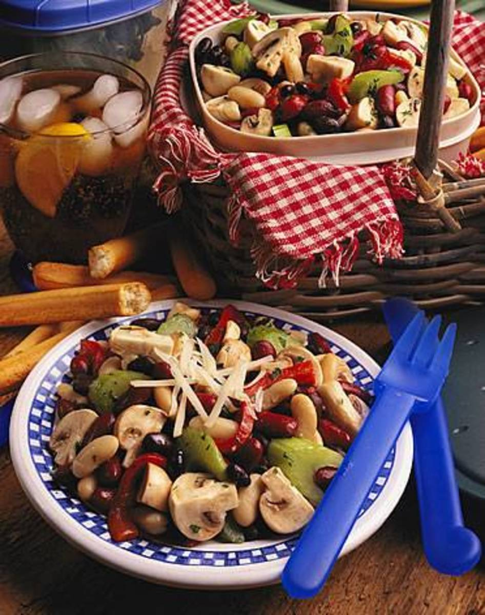 Fresh Mushroom Three-Bean Salad