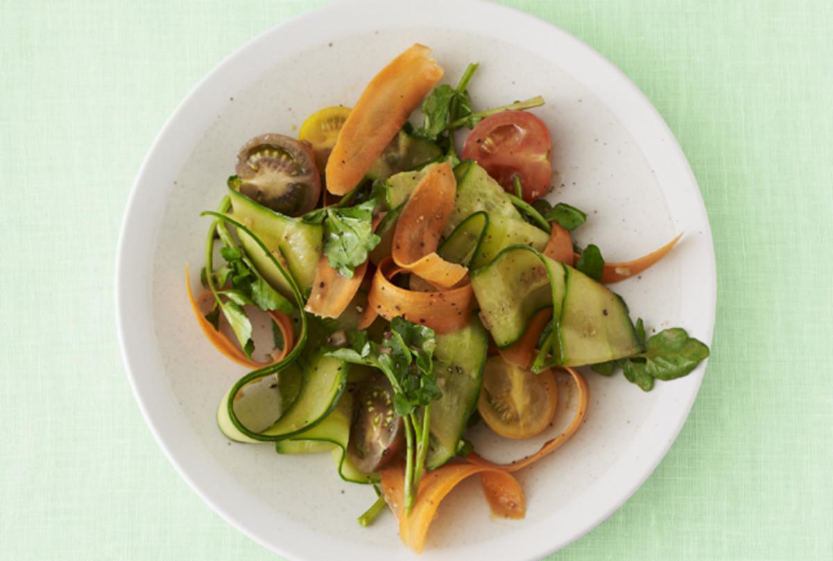 Balsamic Cucumber and Carrot Ribbon Salad