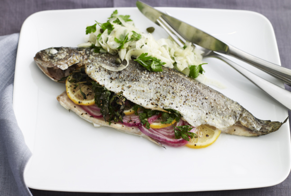 Whole Baked Trout with Fennel