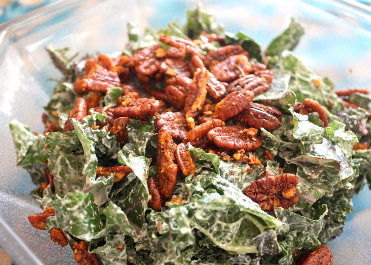 Kale Caesar Salad with Garlic Rosemary Pecan Croutons
