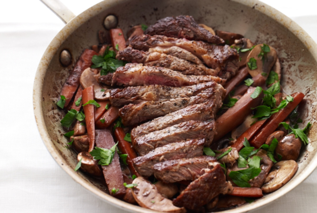 Steak with Red Wine Glazed Carrots, Parsnips & Mushrooms