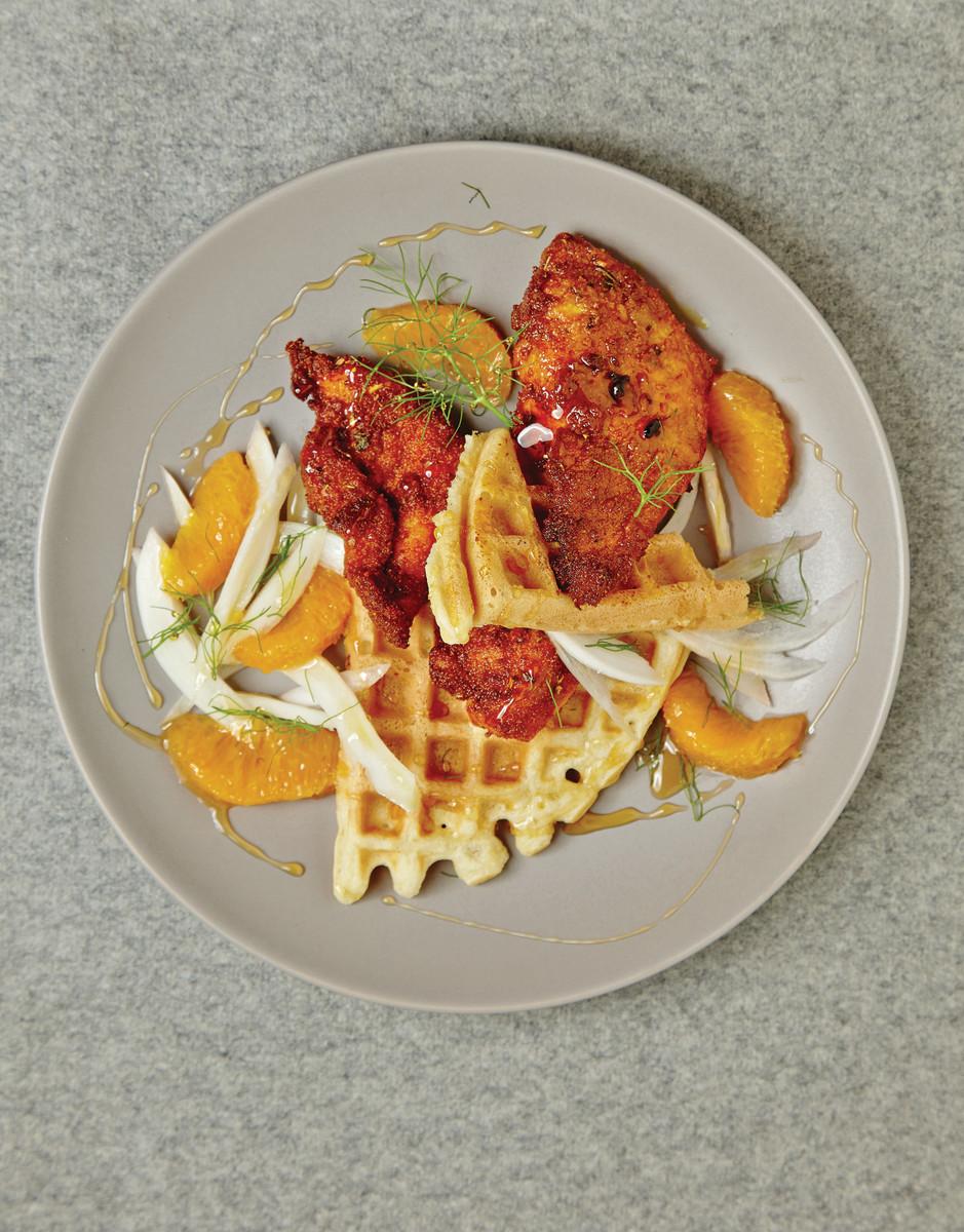 Orange Honey Spicy Fried Chicken on Zestsy Waffles