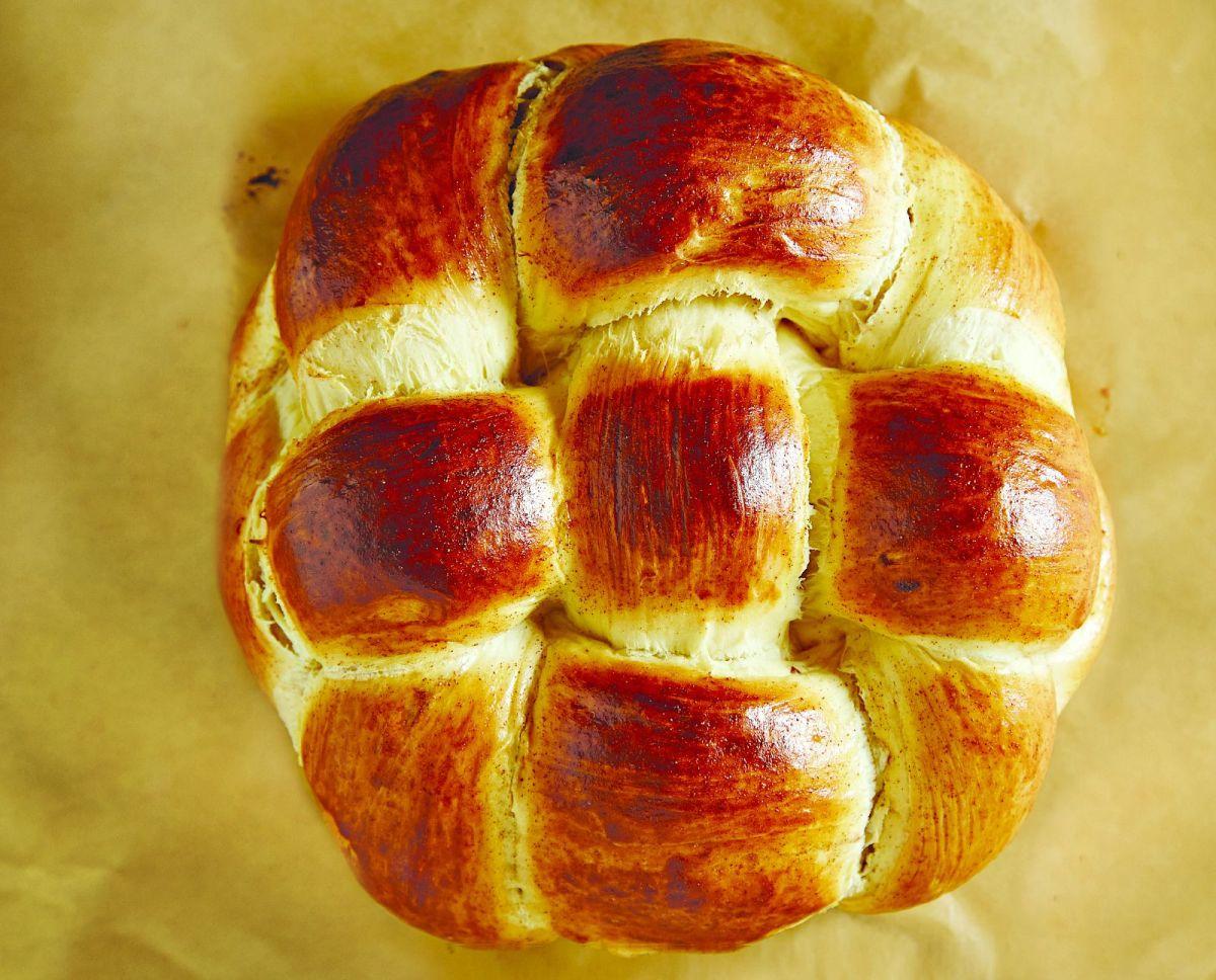 sweet basket shaped challah wide