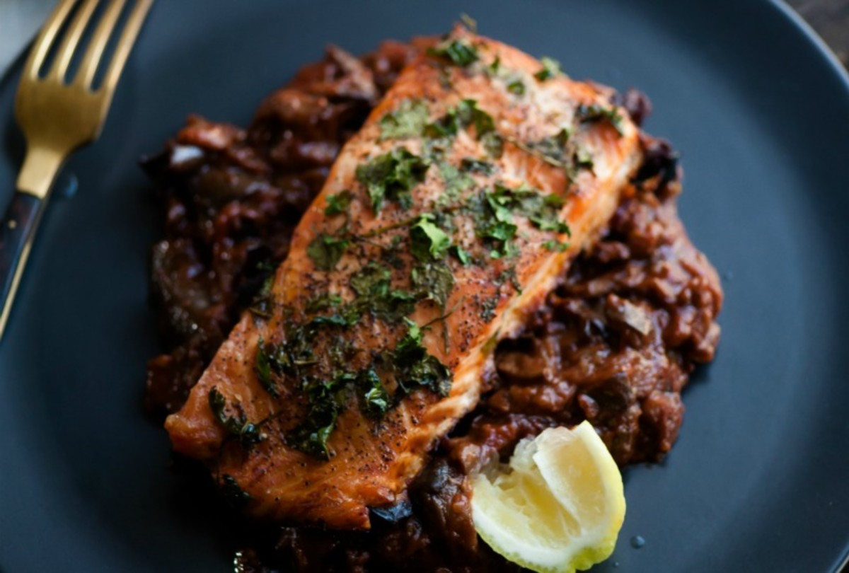 Parsley Salmon Over Eggplant85