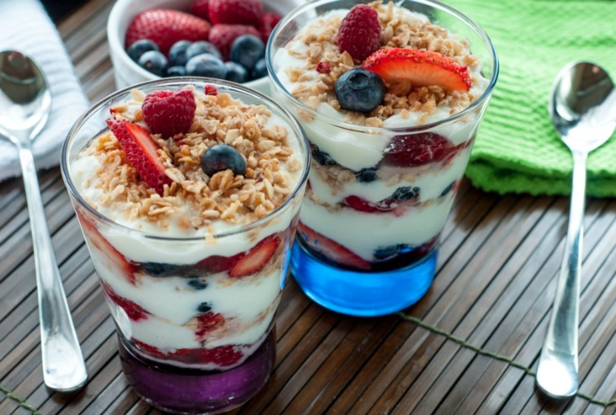 Red white and blue parfait