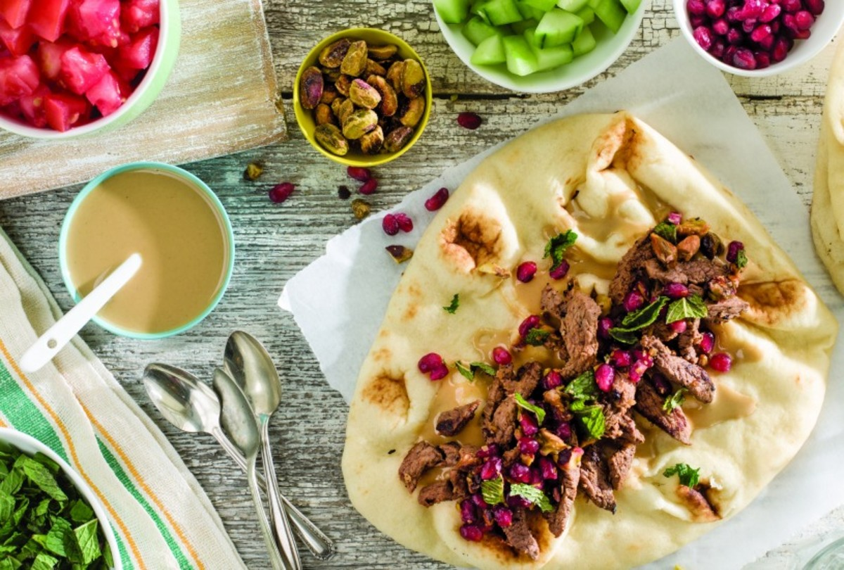 Lamb Shawarma with Pomegranate Mint Salsa