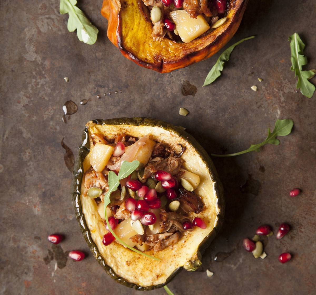 Braised Apples and Veal served in Acorn Squash Cups with Pepitas