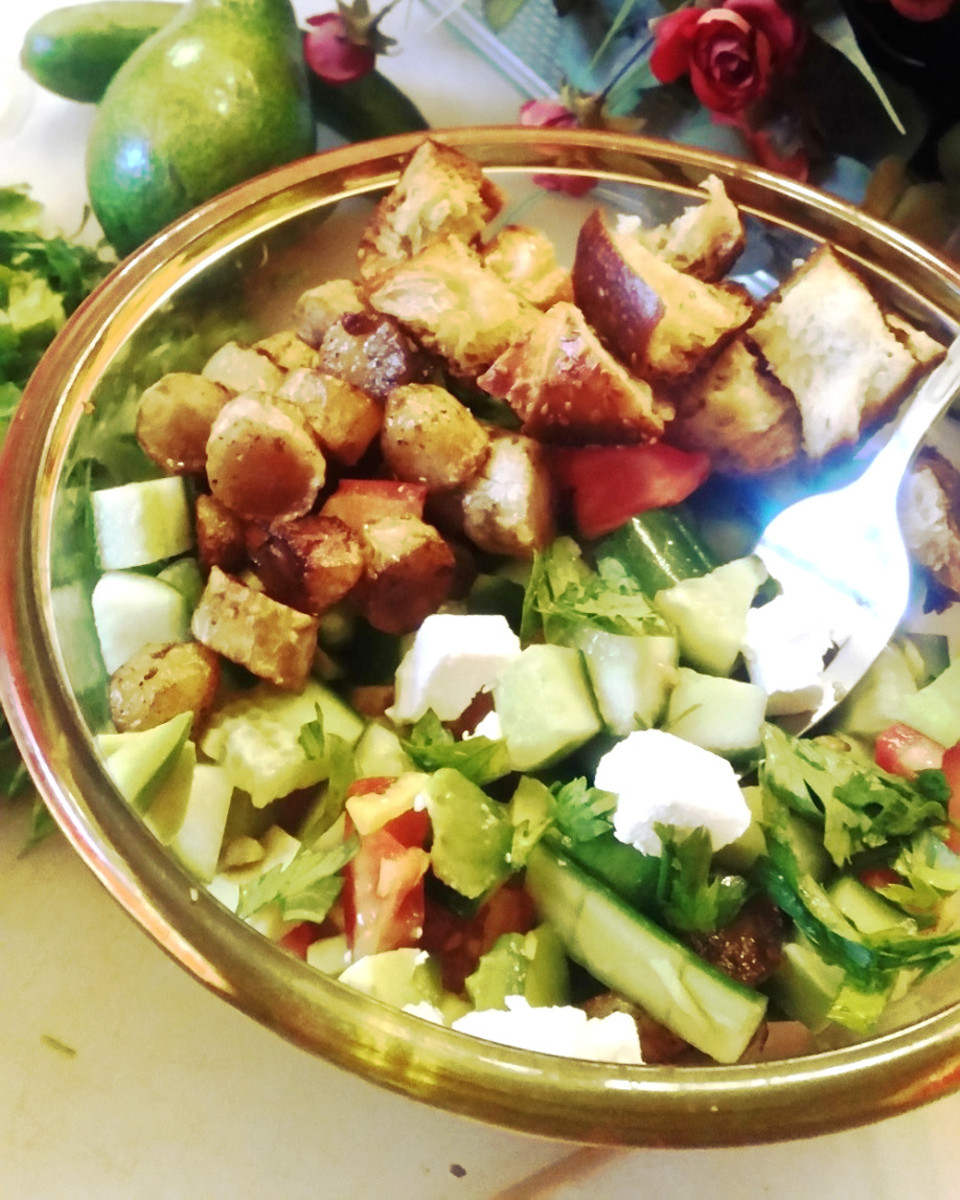 Revamped Israeli Salad with Challah Croutons