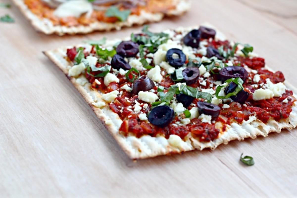 Matzah Pizza Sabra Turkish salad