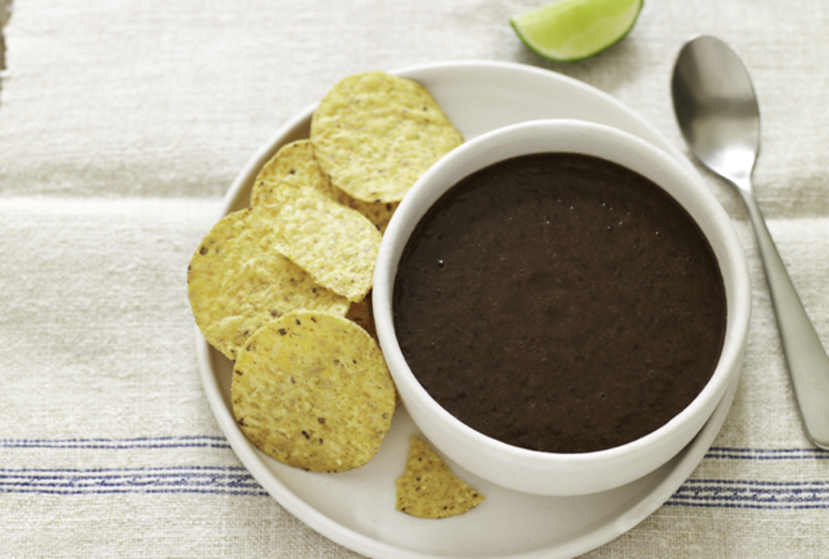 Mexican Black Bean Soup with Spiced Tortilla Chips