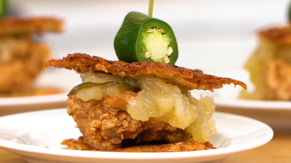 Fried Chicken Potato Pancakes Sliders