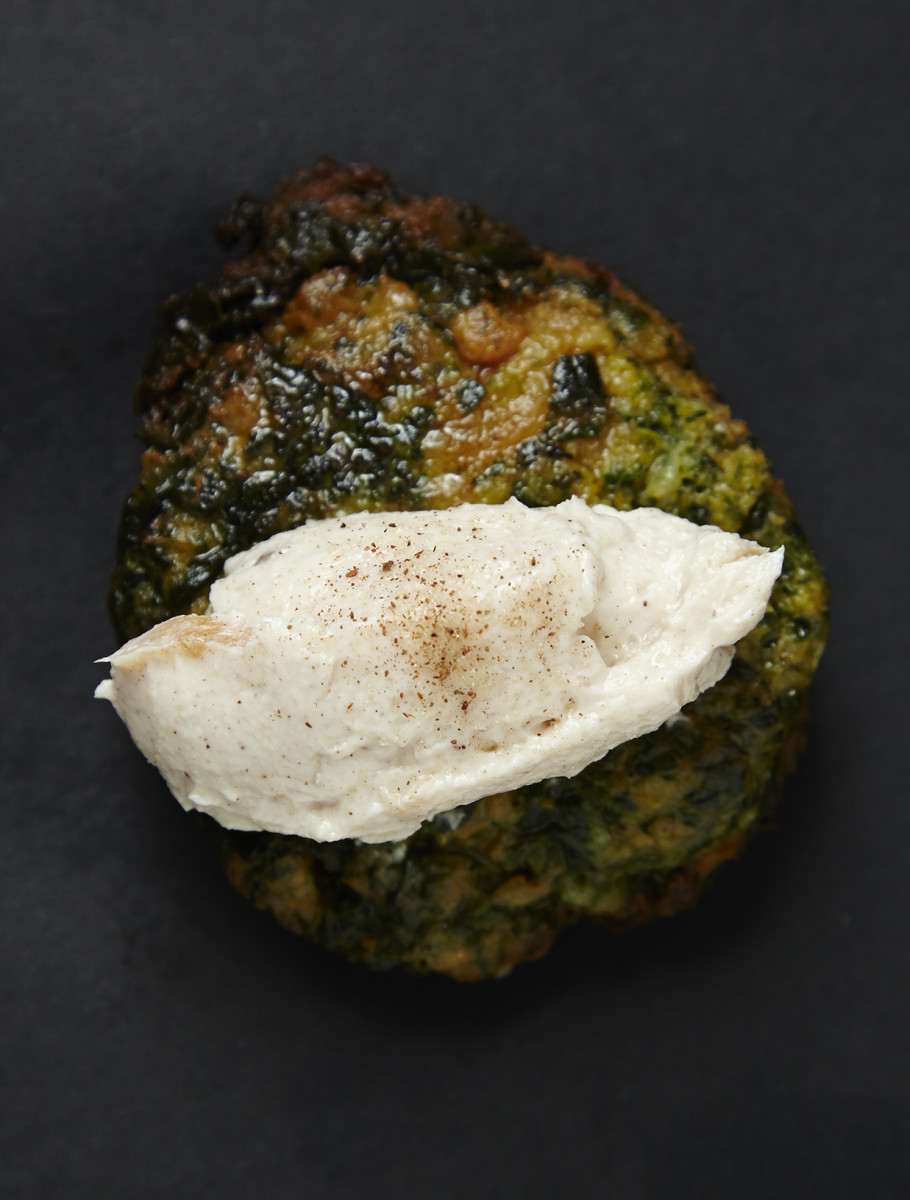 Spinach Sweet Potato Goat Cheese Latkes