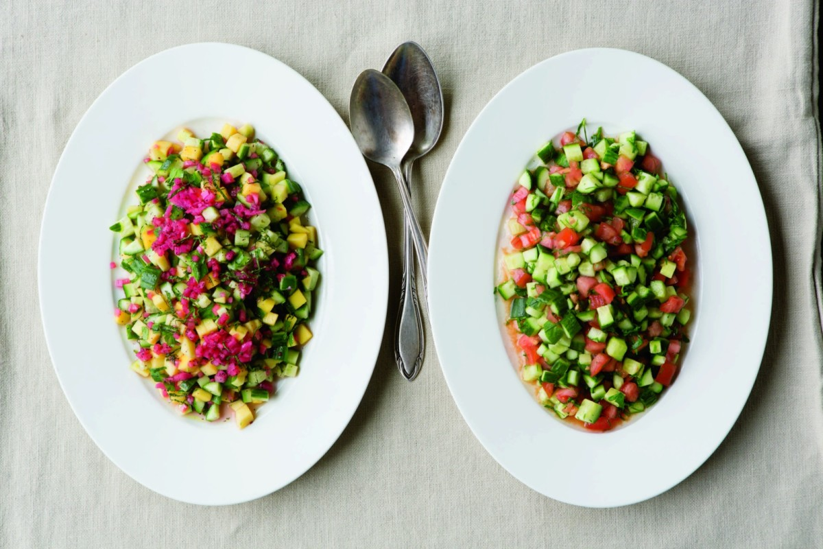 Mango, Cucumber, and Sumac-Onion Israeli Salad