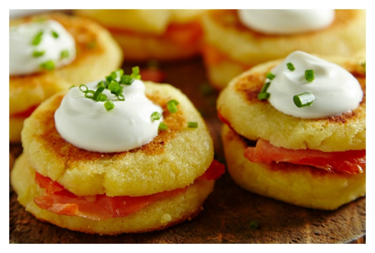 Salmon Stuffed Potato Pancakes