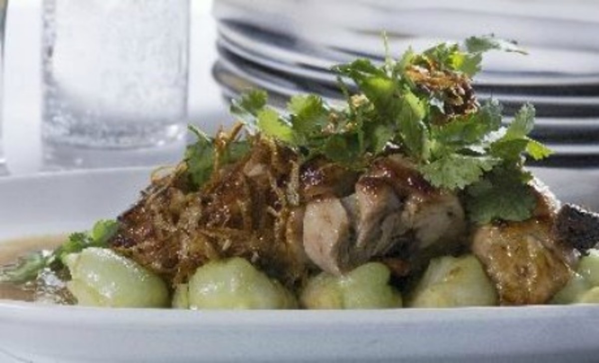 BBQ Chicken with Cranberry Teriyaki Glaze with Garlic Bok Choy
