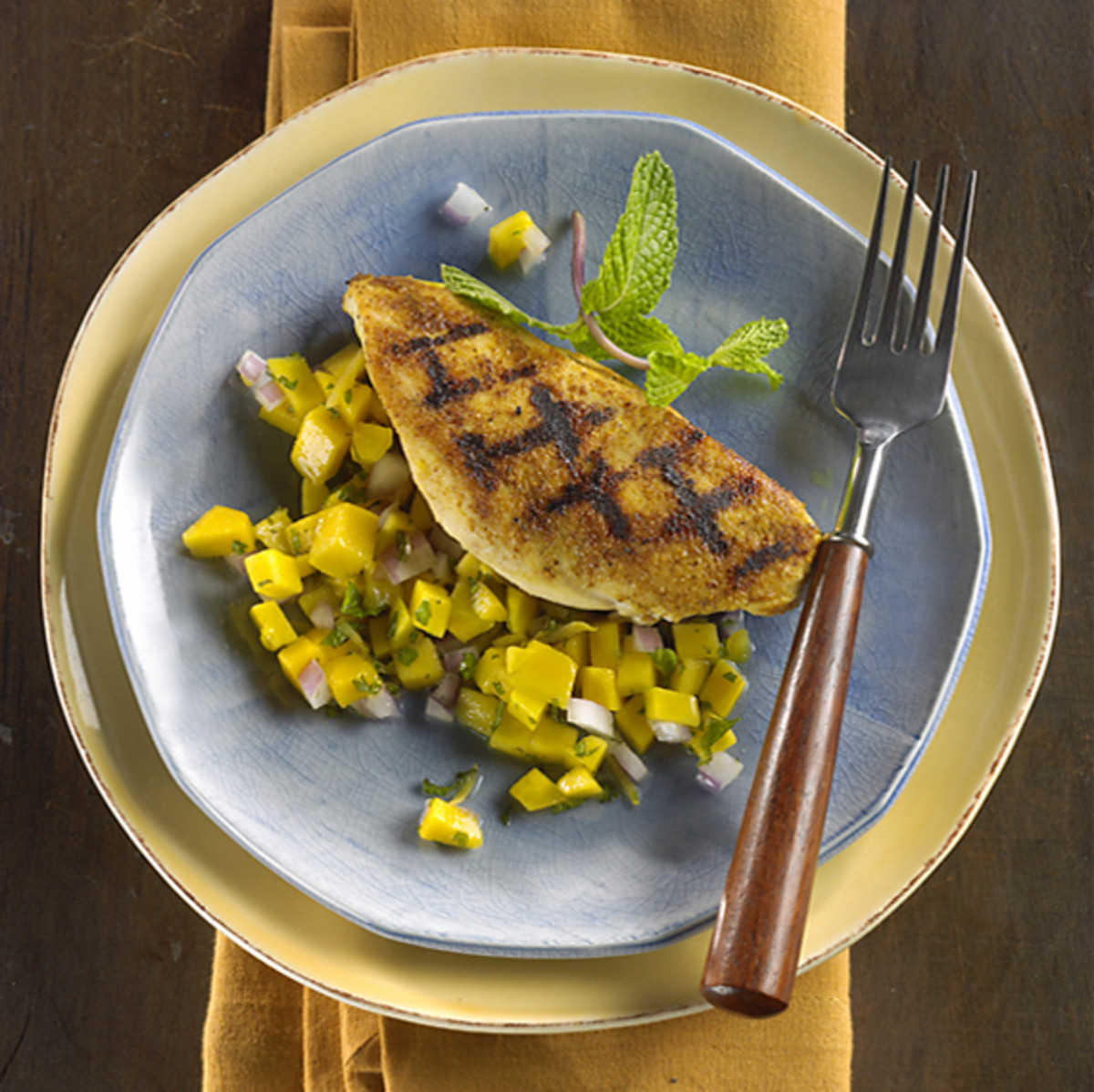 Grill Pan Chicken with Fiery Mango-Ginger Salsa