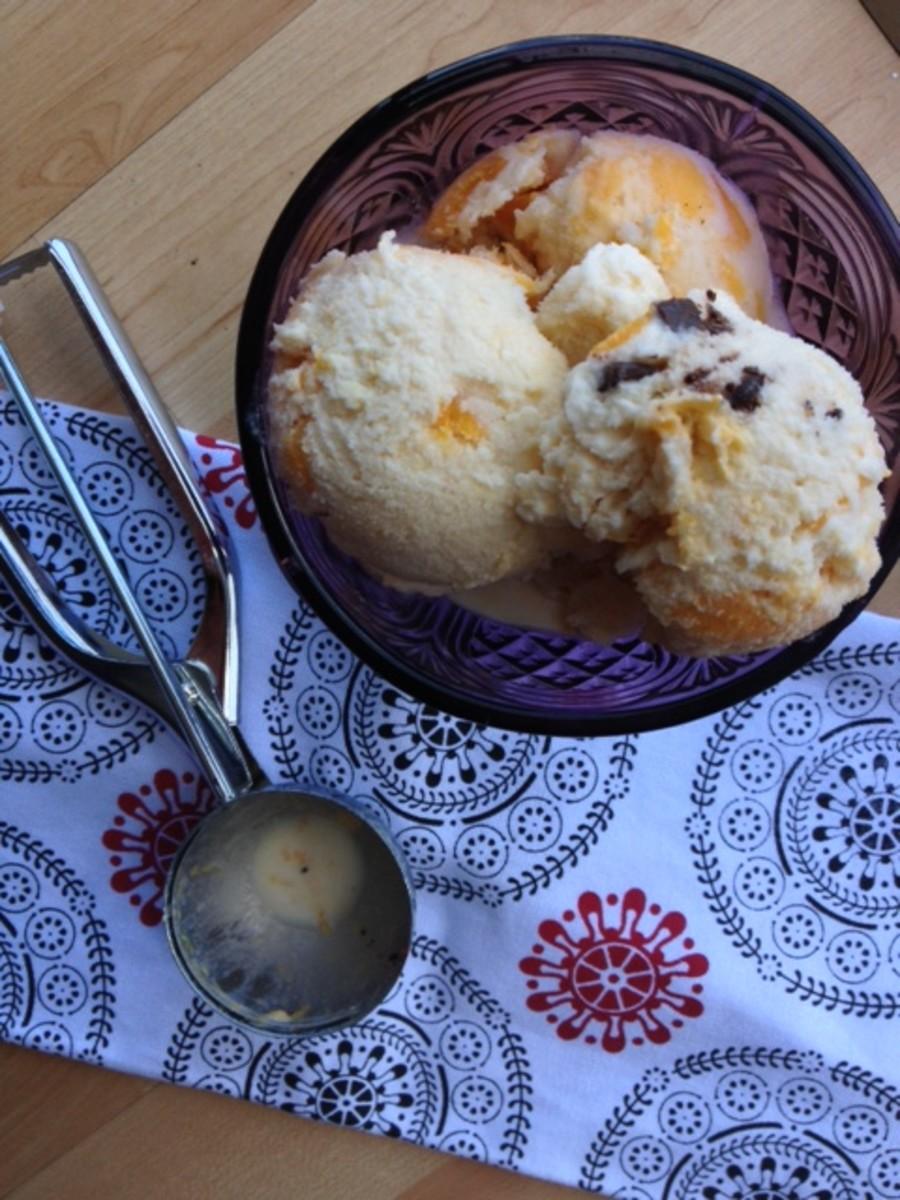 Vanilla Ice Cream with Mango, Chocolate and Jalapeno