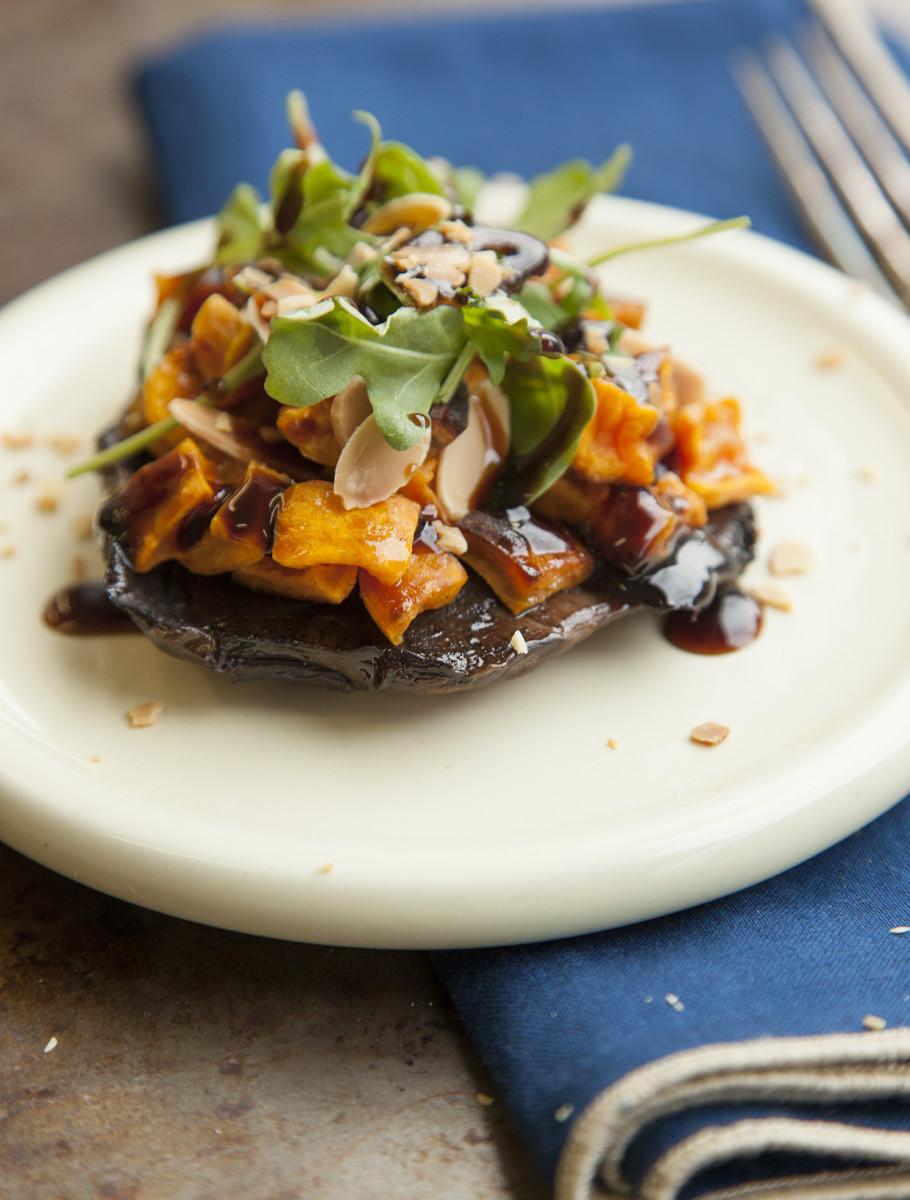 Mushroom and Sweet Potato Balsamic Salad