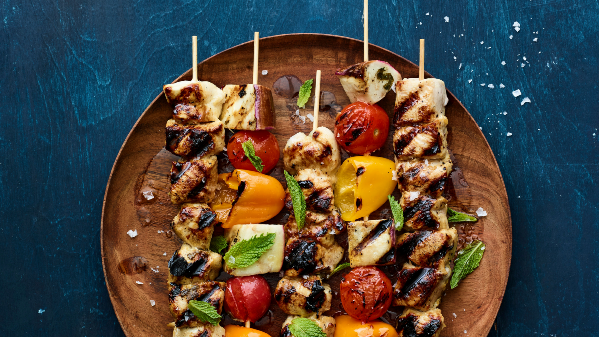 preserved lemon honey mustard chicken kebobs