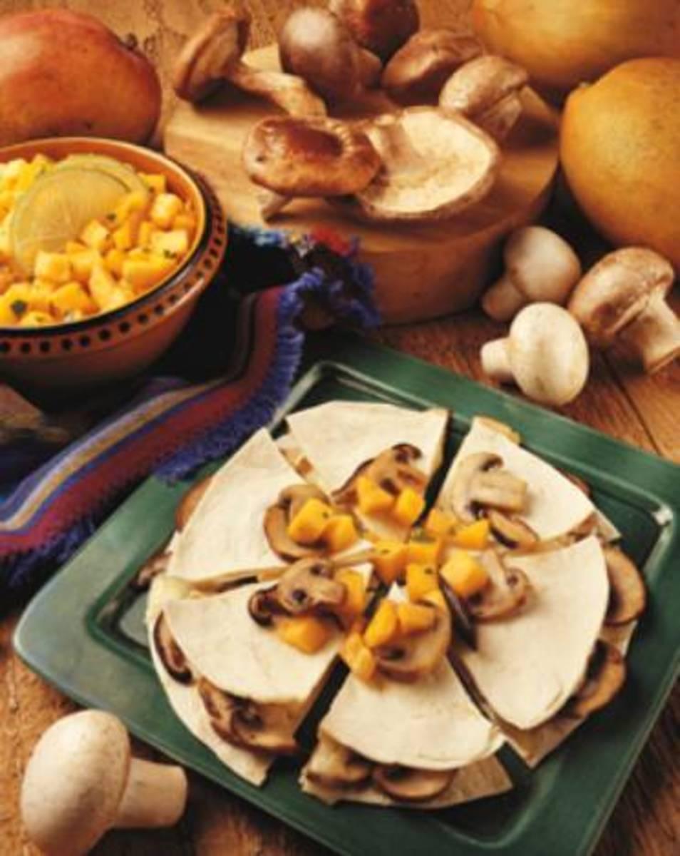 Mushroom & Brie Quesadillas with Mango & Papaya Chutney