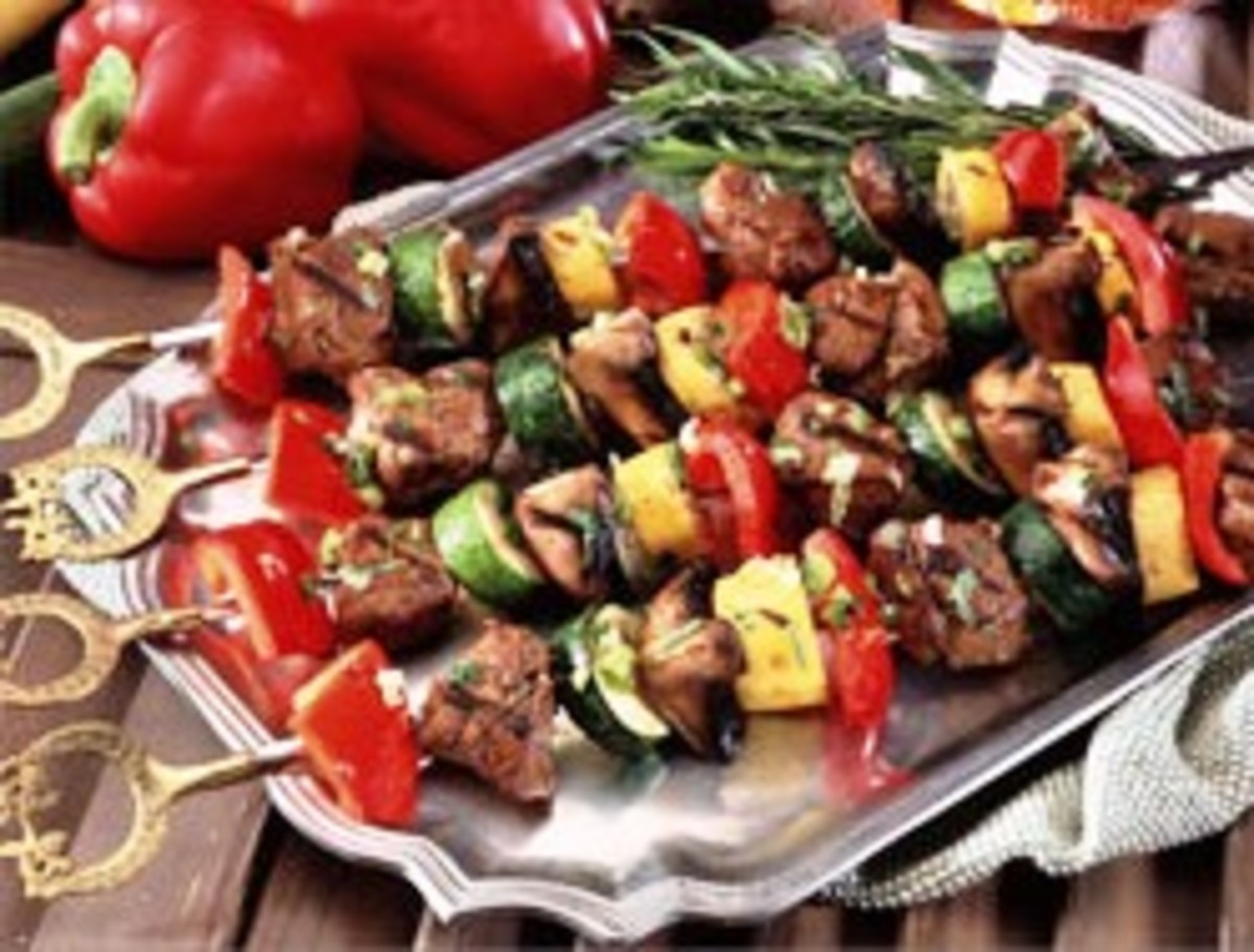 Grilled Turkey, Portabella Mushrooms and Vegetable Kebabs