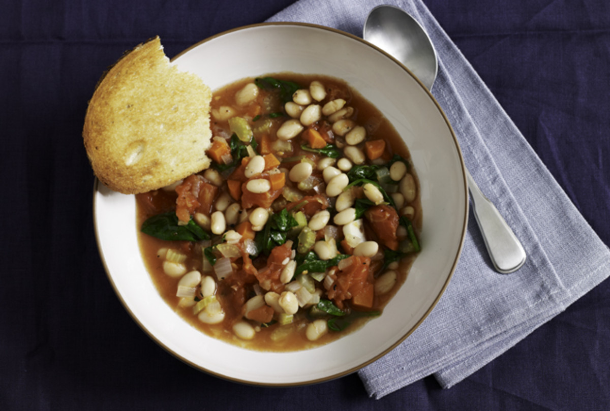 White Bean Soup with Lemon and Garlic Cornbread