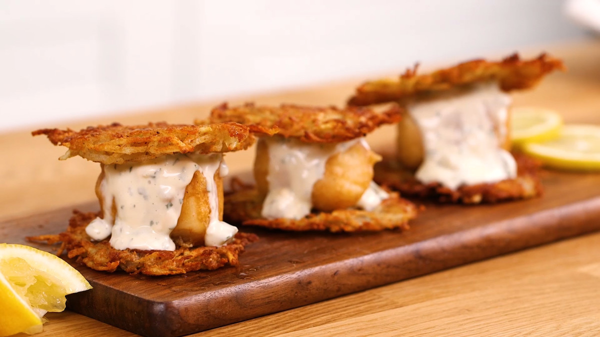 Beer Battered Fish Potato Latke Sliders