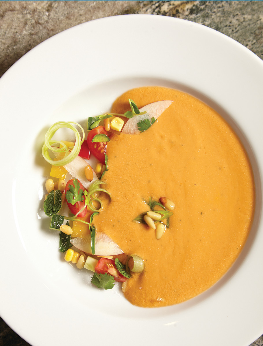 Summer Peach and Heirloom Tomato Gazpacho Page 58