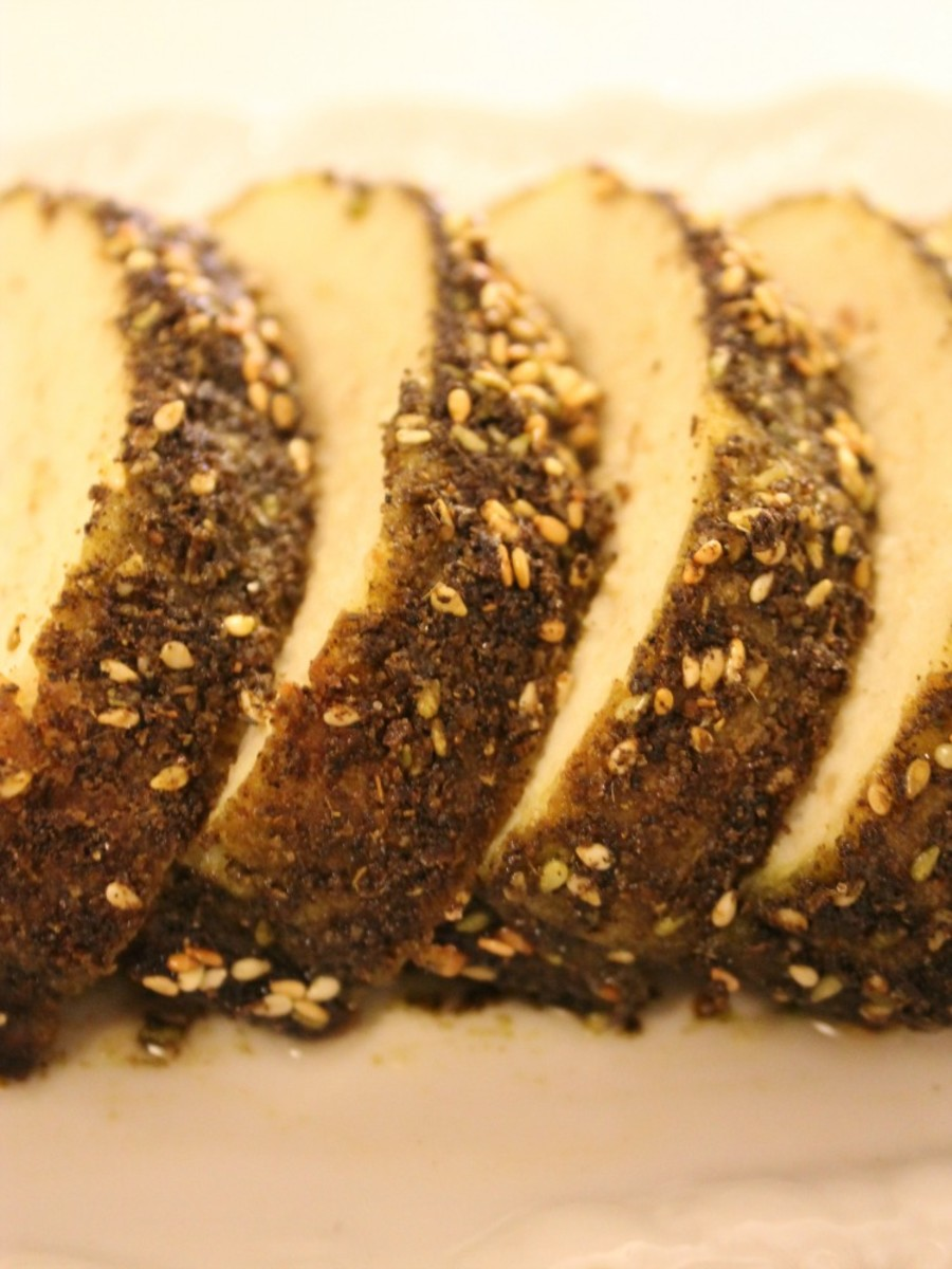 zaatar crusted gefilte fish pin