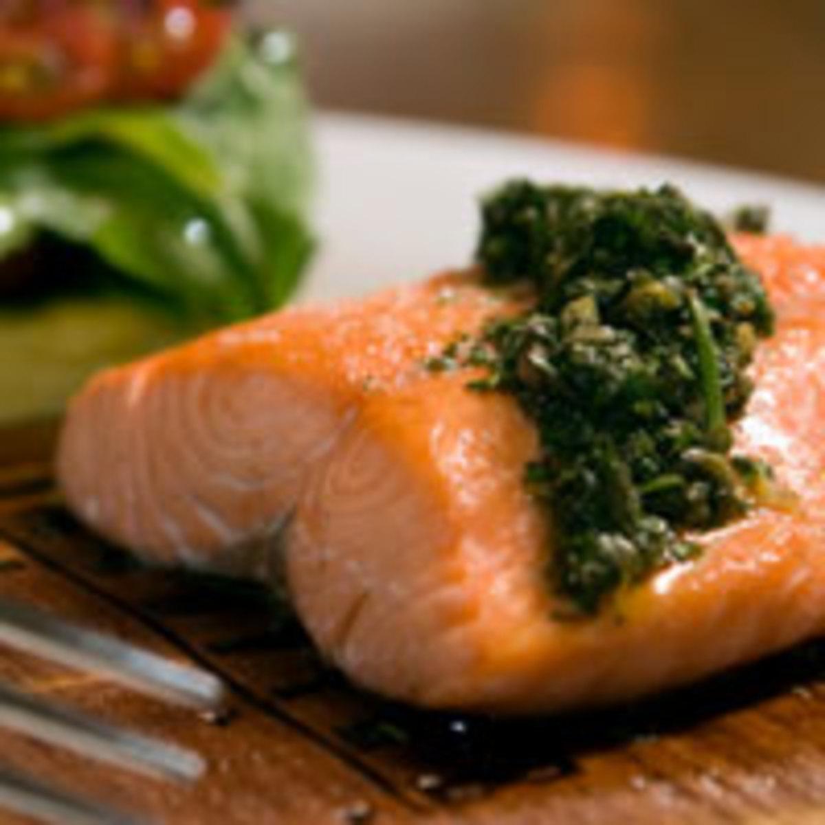 Slow Roasted Salmon with Mint Pesto