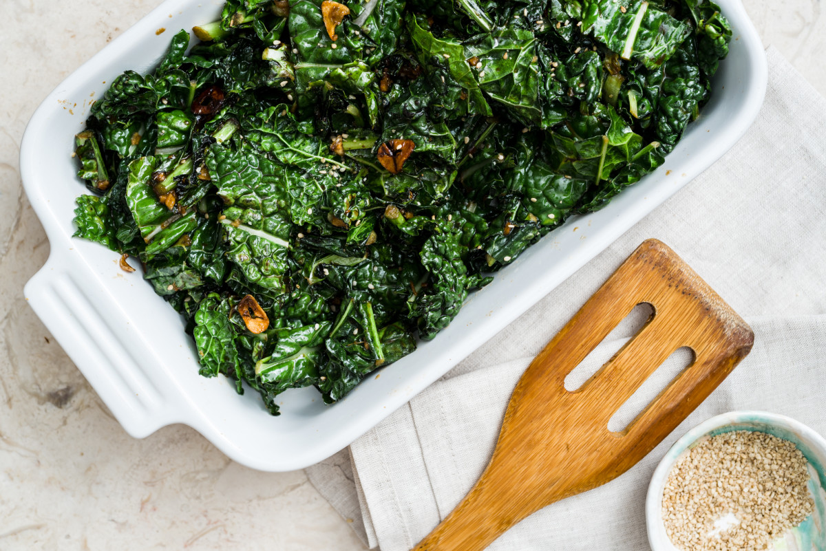 Stir Fried Miso Kale with Garlic