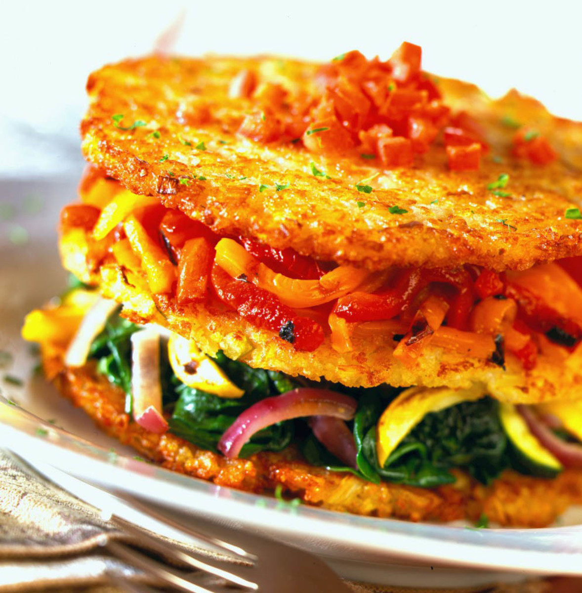idaho potato napolean with grilled vegetables