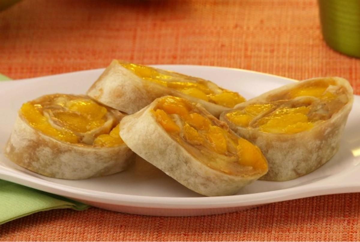 Peanut Butter, Mango and Honey Roll Ups