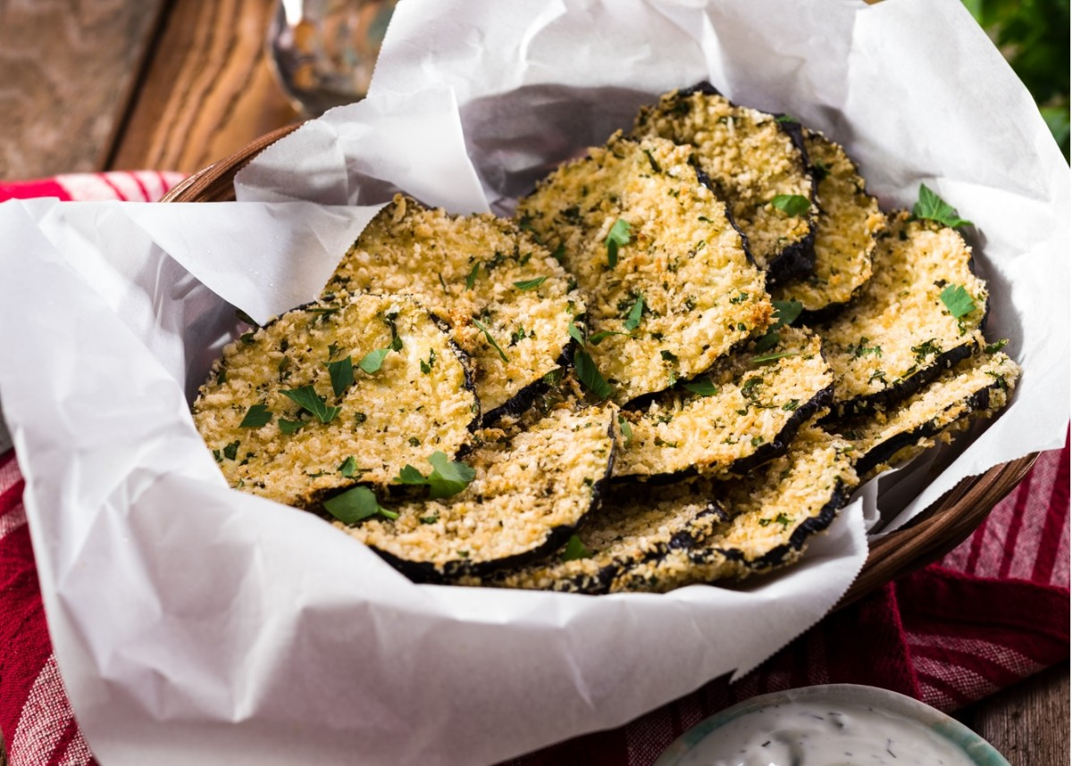 Baked Eggplant Chips with Tzaziki Dip