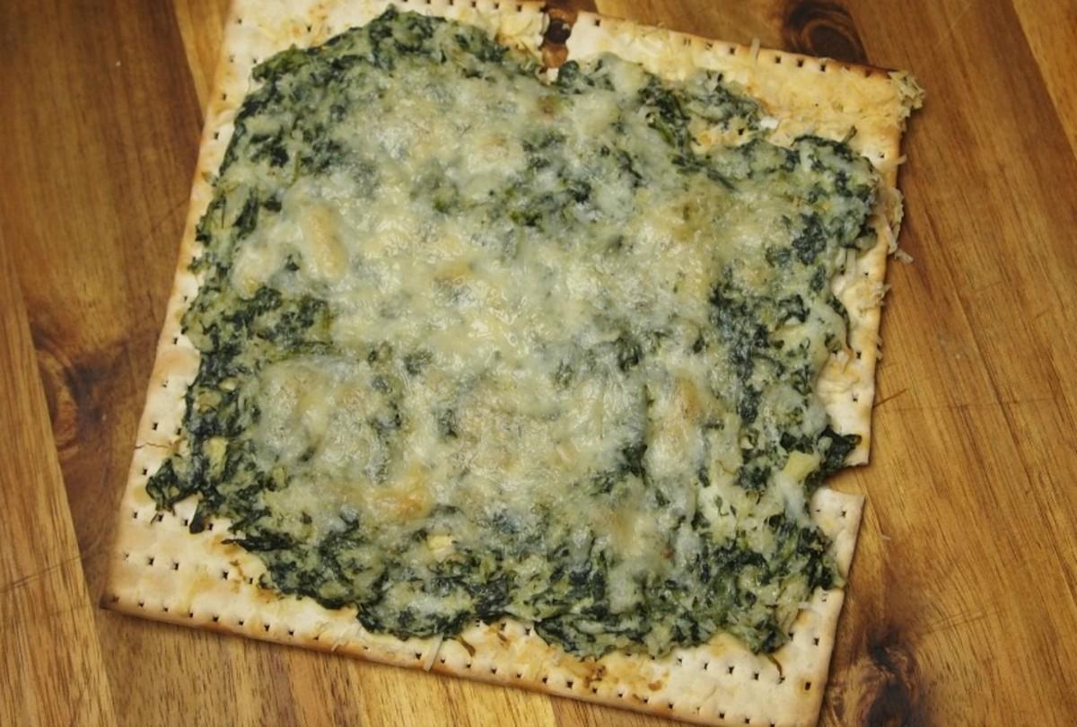 spinach and artichoke dip matzo pizza