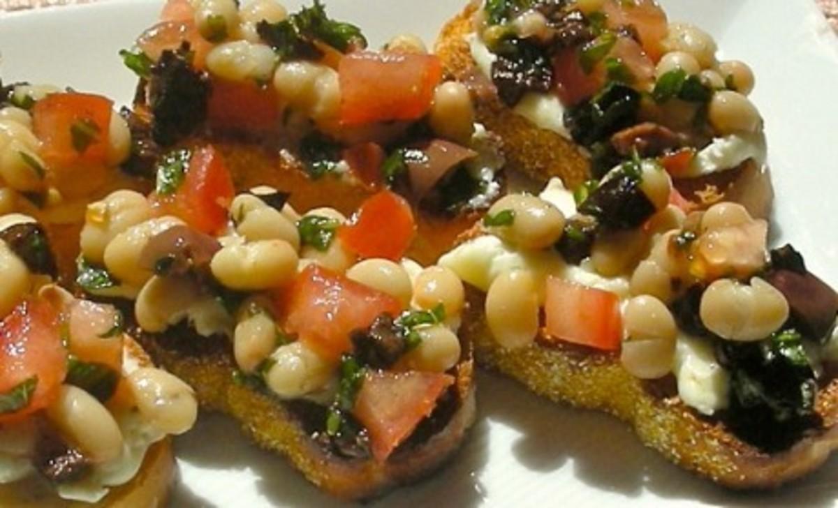 White Bean Tomato Goat Cheese and Olive Bruschetta