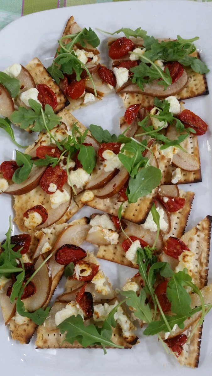 Pear, Oven Roasted Tomatoes and Goat Cheese Matzo Pizza - It's like salad on a slice of matzo, serve in pieces to make it easier to eat, could be made on a flatbread too.