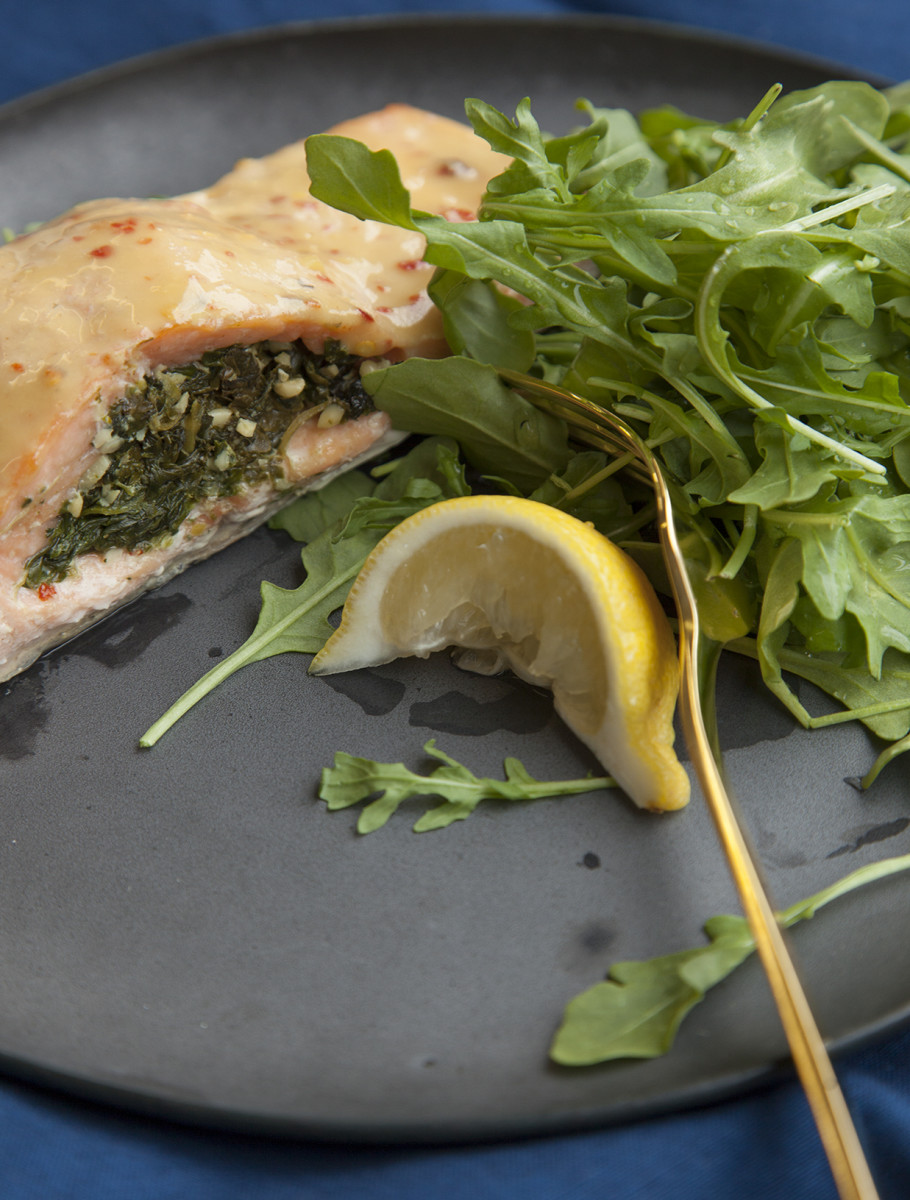 spinach pesto stuffed salmon
