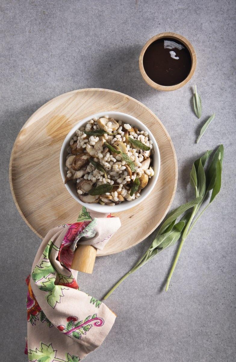 Roasted Mushroom Barley Salad with Fried Sage