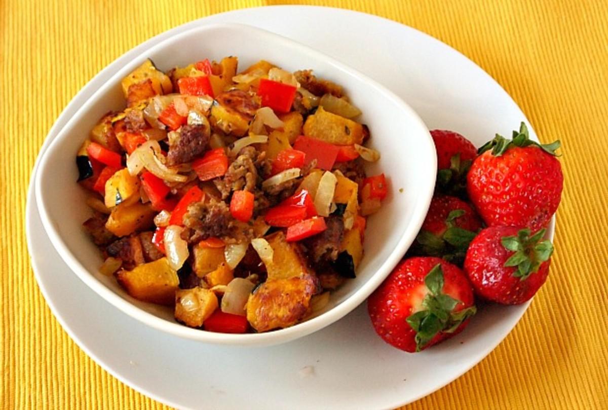 squash hash with veggie sausage