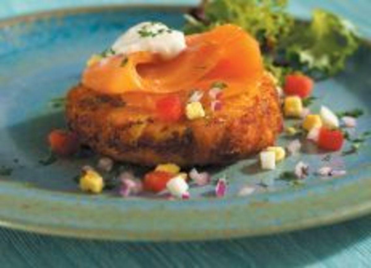Smoked Coho Salmon on Idaho® Baked Potato Cake