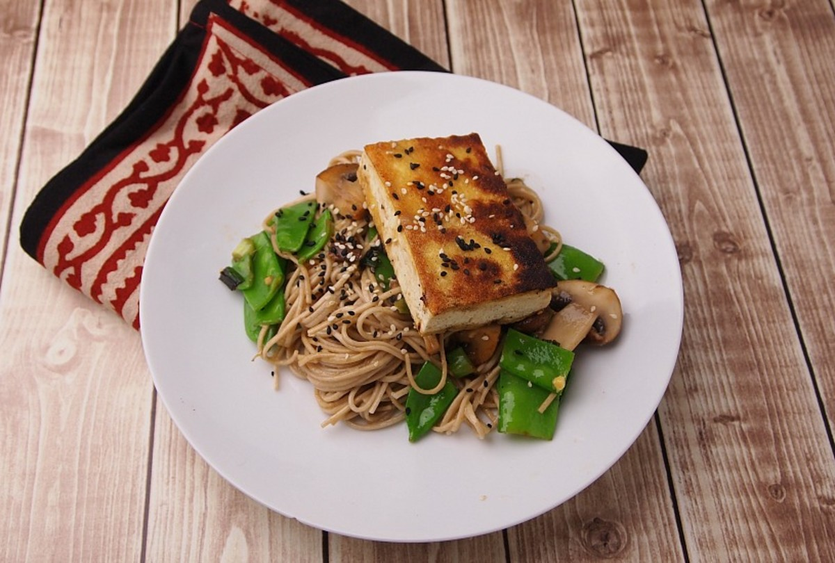 miso glazed tofu with soba noodles